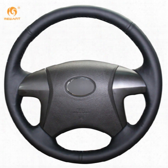 Mewant Black Genuine Leather Car Steering Wheel Cover For Toyota Highlander Camry 2007-2011