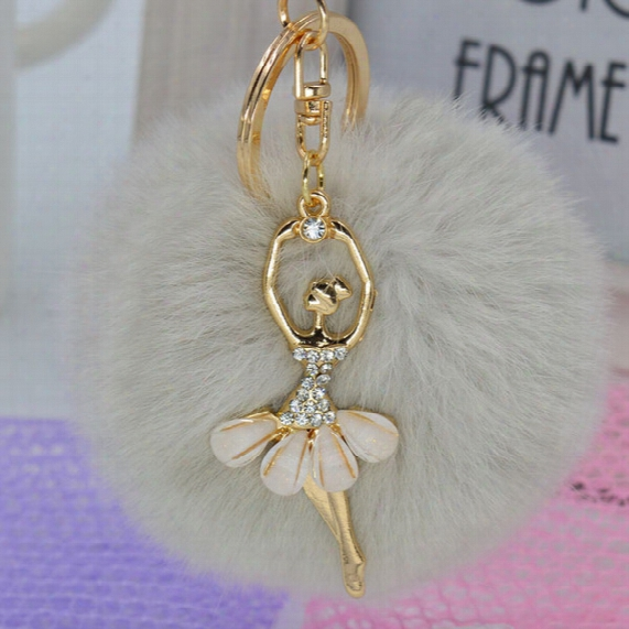 New Arrival 22 Colors Cute Genuine Leather Rabbit Fur Ball Plush Key Chain With Little Angel For Car Key Ring Bag Pendant Keychain