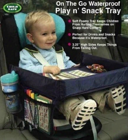 On The Go Waterproof Portable Baby Kids Booster Car Seat Play N Snack Travel Tray Drawing Board Table Organizer Car Seat Cover Baby Car Seat
