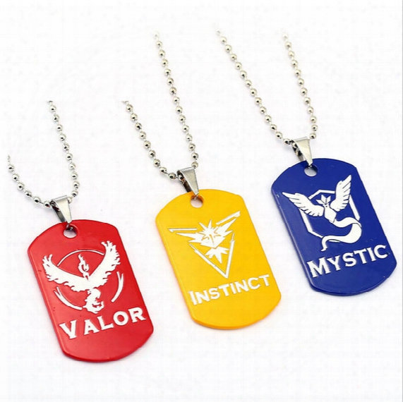 Poke Go Team Valor Instinct Mystic Stainless Steel Necklace Cartoon Pikachu Pendant Poke Ball Glass Alloy Necklace Keyring B001