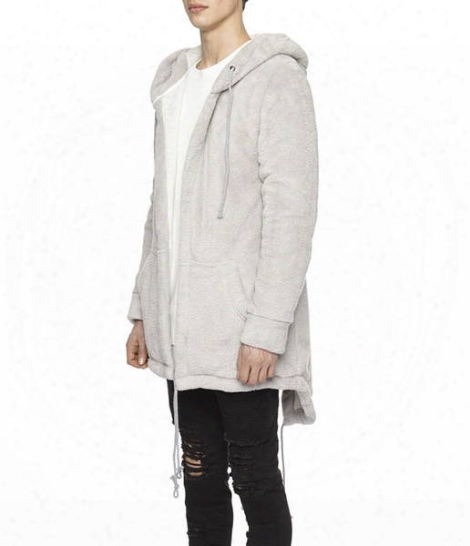 Streetwear Thicking Long Sleeve With A Hood Flannel Men Jackets / Zipper Sleeve String Men Long Hoodie Cardigan Black Grdy Size S-xxl