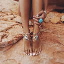 925 Sterling Silver Boho Bead Anklet Wedding Foot Jewelry Chain Barefoot Sandals Carved Beach Foot Bracelet For Women Jewelry Wholesale