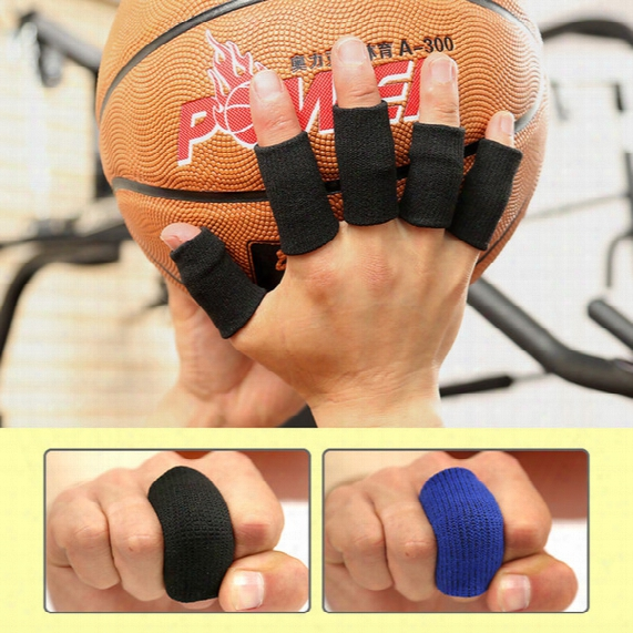 Wholesale- Aolikes 10pcs/set Elastic Finger Sleeves Basketball Sports Safety Thumb Brace Protector For Volleyball Fitness Gym Health Care
