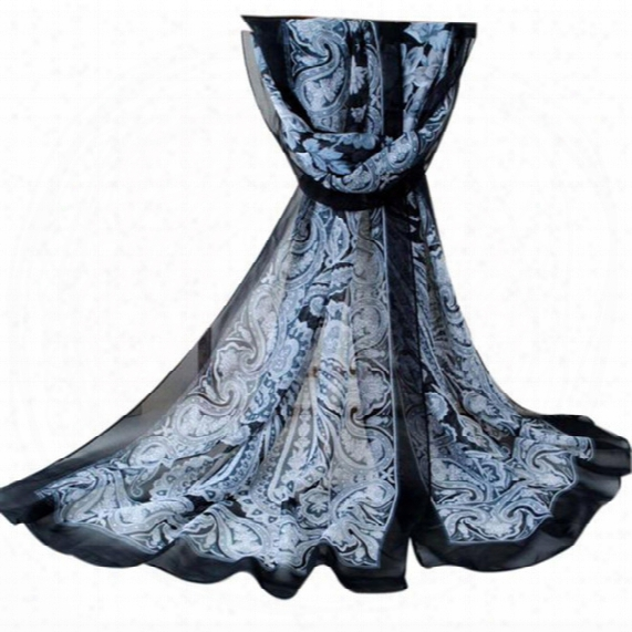 Wholesale- New Scarf Womens Fashion Printed Chiffon Scarf Long Section Of Shawls And Scarves Best Quality Foulard Femme Chriamas Gift #448