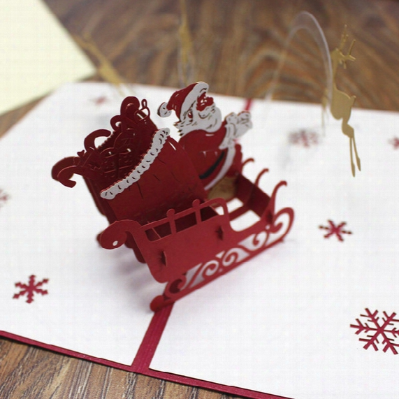 Xmas Greeting Card Pop Up Gift Card Red 3d Deer Merry Christmas Laser Cut Paper Postcards