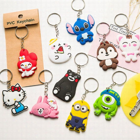 10 Models Phone Accessories 1 Pcs Cartoon Rings Silicone Keychain Cute Key Holder Pvc Key Chains Finger Souvenirs Gift Cat Door Key Animals