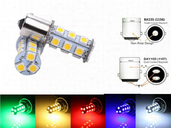 1156 Led Bulb 1157 Car Lights White Lamp Dc 12v 18 Led 5050 Smd Blanco Bulb Led Brake Turn Reverse Lamp