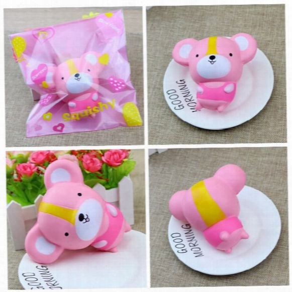 12cm Kawaii Cartoon Mouse Squishy Slow Rising Jumbo Hamster Doll Phone Straps Pendant Scented Bread Cake Kid Toy Gift