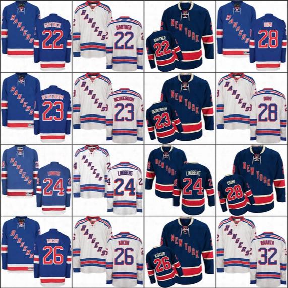2017 New York Rangers 22 Mike Gartner 23 Jeff Beukeboom 24 Oscar Lindberg 26 Joe Kocur 32 Antti Raanta Tie Domi Ice Hockey Jerseys Stitch
