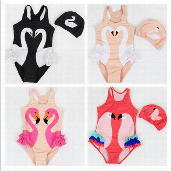 2017 Summer New Girl Swimwear With Hat Swan Parrot Flamingo Cartoon One Piece Children Swimming Suit 0-9t 10011
