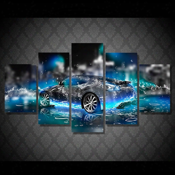 5 Pcs Hd Printed Cool Car Art Painting Canvas Print Room Decor Print Poster Picture Canvas Oil Painting Abstract