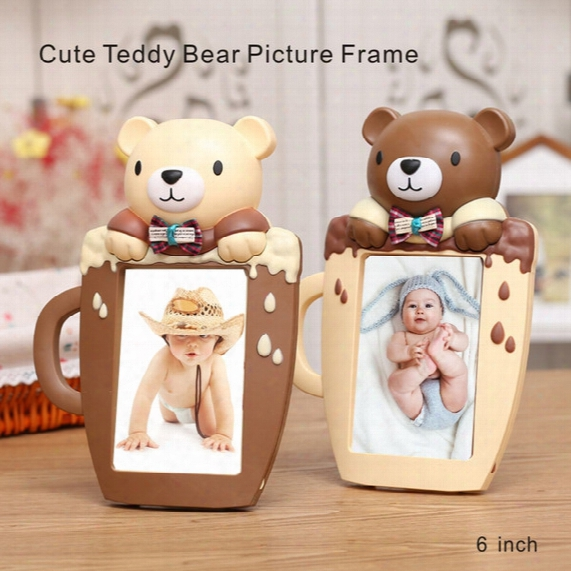 6 Inch High Quality Cute Teddy Bear Picture Frame Cartoon Cup Shape Home Decorations Pvc Environmental Protection Material
