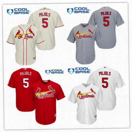 Albert Pujols Baseball Jerseys Men's St. Louis Cardinals #5 Albert Pujols Authentic Cream Alternate Cool Base Mlb Jersey All Embroidery