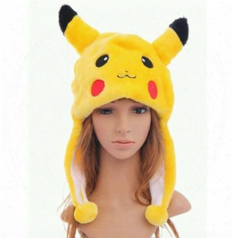 Anime Pikachu Fancy Costume Warmer Hat Beanie Unisex Adult Kids Fluffy Plush Warm Cartoon Cap Scarf Cosplay Performance Props Xmas G1ft