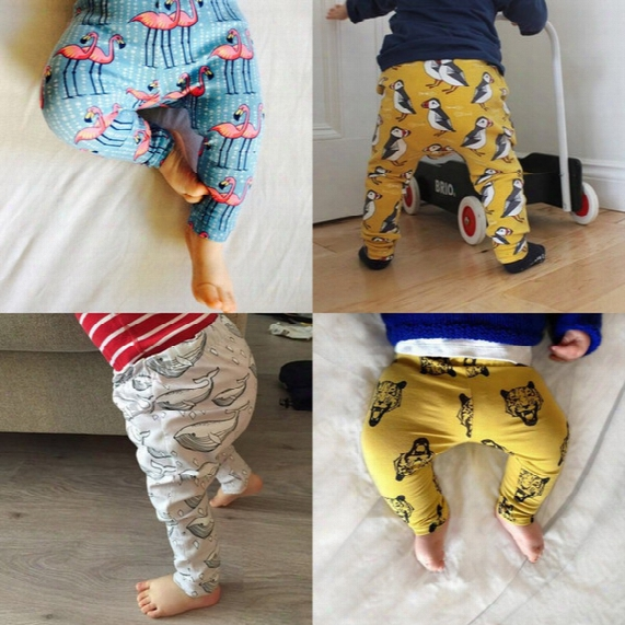 Baby Boys Girls Cartoon Leggings Toddler Autumn Render Pants Cotton Cartoon Animal Puppy Fox Bird Pants