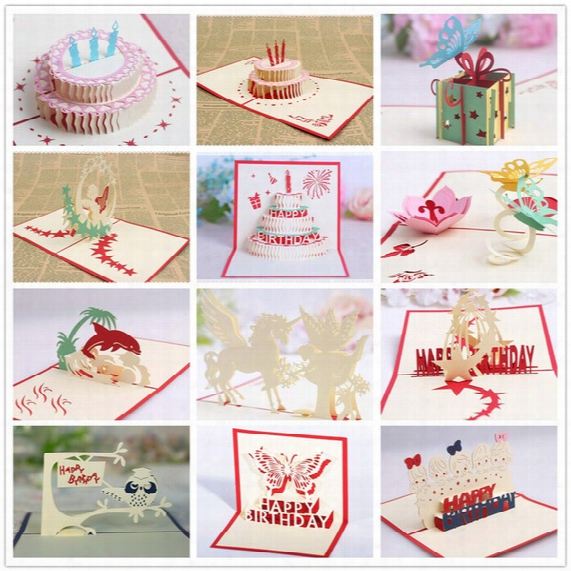 Birthday Party Decorations Kids Greeting Cards Birthday Party Favors 3d Birthday Pop Up Cards Greeting Card 12 Styles Per Lot