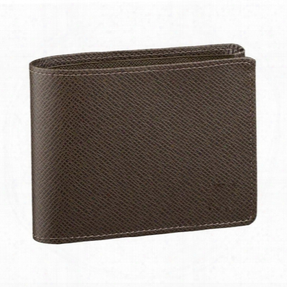Brand New! Brown Multiple Wallet Mens Damier  Ebene Canvas Taiga Leather Wallets For Men M60895 Designer Handbags Card Holder Wallet Multiple