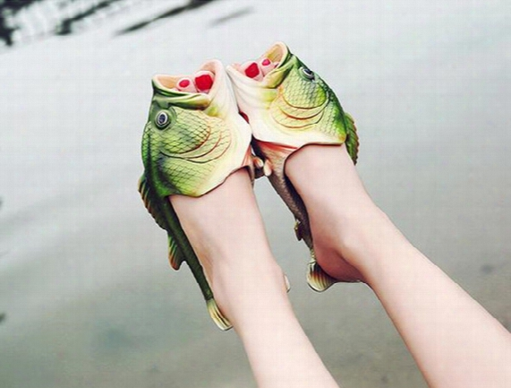 Creative A Wacky Fish And Flip Flops Couple Summer Outdoor Green Carp Beach Slippers Sandals Men And Women