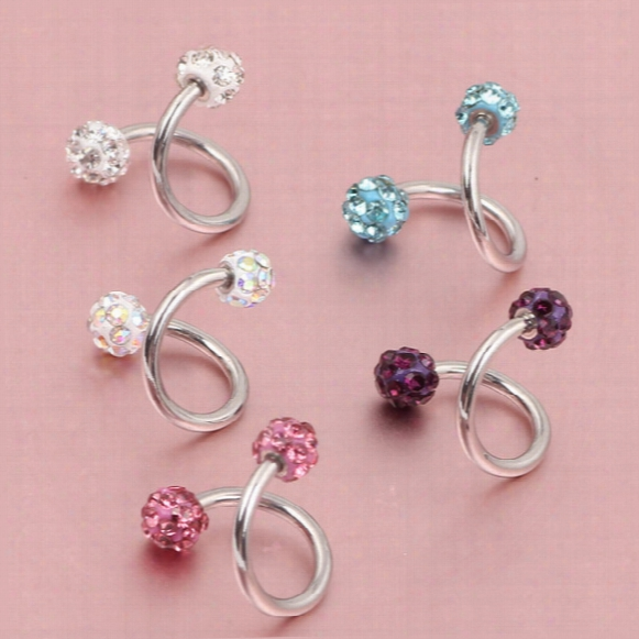 Crystal Ball S Spiral Twisted Lip Ring Nose Ring Ear Cartilage Tragus Helix Earring 30pcs Piercing Body Piercing Jewelry 16g