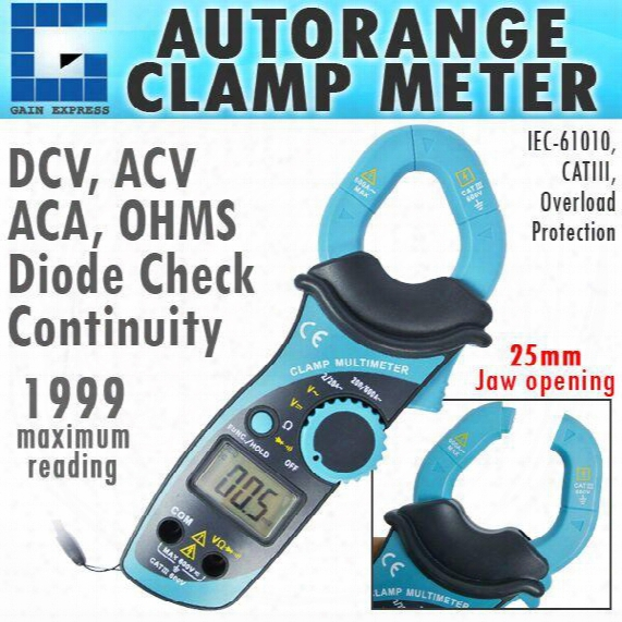 E04-007 25mm Jaw Digital Clamp Meter Autorange Dcv Acv Aca Ohms Resistance Diode Continuityy
