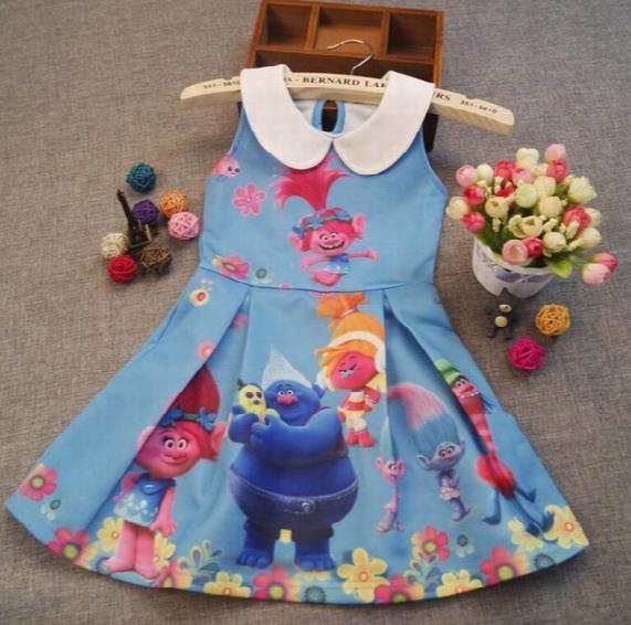 Girl Trolls Princess Lapel Dress New Children High Quality Cartoon Trolls Sleeveless Vest Dresses Clothes 2-10 Years