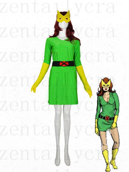 Green & Yellow X-men Phoenix / Marvel Girl Spandex Superhero Costume Party Halloween Carnival Cosumes