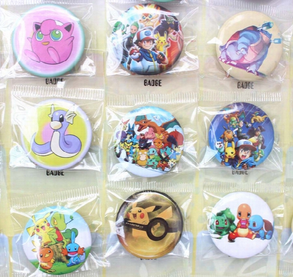 New Arrival! 5sheets/240pcs Pikachu The Cartoon Badge 30mm Badge Button Fashion Pin Badge Wholesale