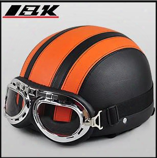 Orange & Black Summer Half Face Helmet ,women Electric Power Cart Armet Shield Sun Motorcycle Helm,mix Color