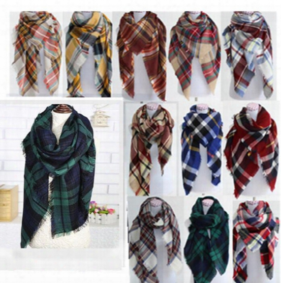 Plaid Scarves Women Lattice Blankets Grid Tassel Wrap Oversized Check Shawl Tartan Cashmere Scarf Winter Neckerchief 20 Design Kka2118