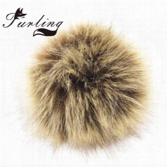 Pom Ball Furling Diy 12pcs Wholesale 10cm Faux Fox Fur Pom Pom Ball For Knitting Hat Accessories Keychain Accessories