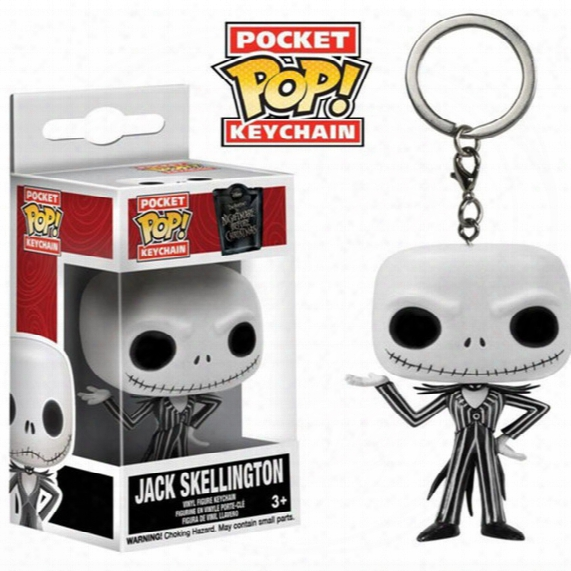 Popotoyfirm Funko Pop Nightmare Before Christmas Jack Skellingpocket Keychains Action Figure Movie Accessories Key Chian Keychain For Gift
