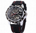 2017 New Winner Black Rubber Band Automatic Mechanical Skeleton Watch For Men Fashion Gear Wrist Watch Reloj Army Hombre Horloge