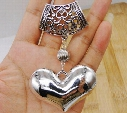 Free Shipping Wholesale New Fashion 5pcs Charm Antique Silver Alloy Scarf Heart Pendant Necklace DIY Metal Jewelry 10.5cm S3389
