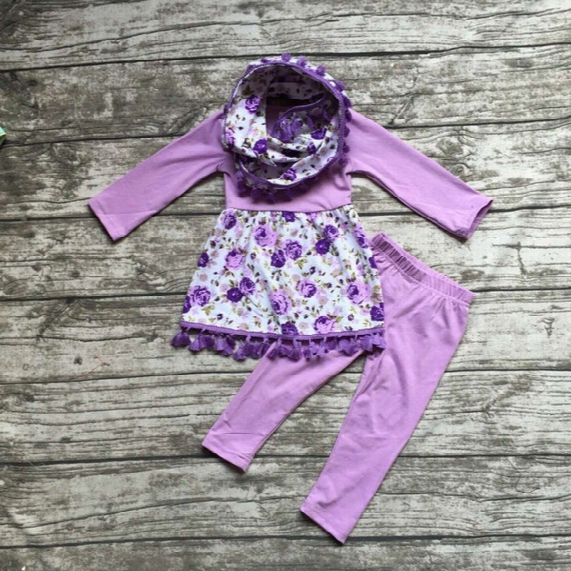 Wholesale- Baby Winter Outfits Girls 3 Pieces Sets With Scarf Baby Girls Purple Floral Clothing Girls Fall Boutique Clothes Solid Pant