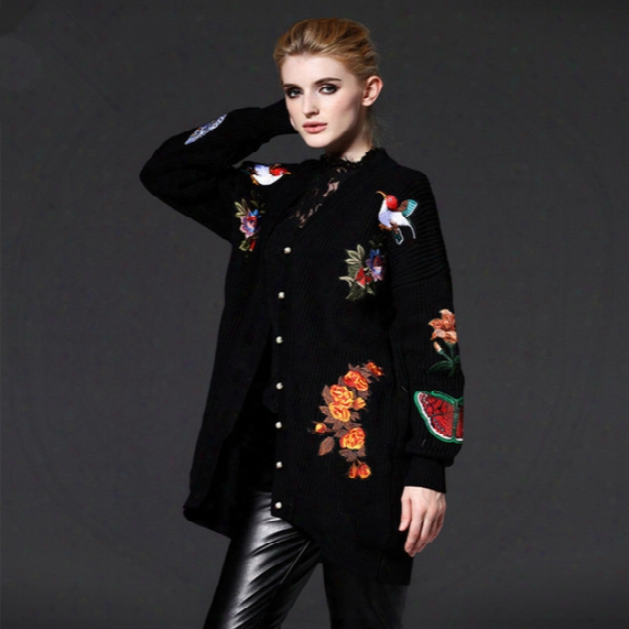 Wholesale-free Shipping New Fashion 2016 Autumn Winter Women Knitted Long Outwear Cardigans Sweaters Embroidered Flowers Tiger Coat