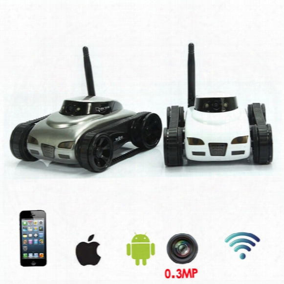 Wholesale- Funny Wifi Rc Tank Car Toy With 0.3mp Hd Camera Realtime Transmission Toys Remote Control By Moblie Phone Boy Kids Toys Juguetes
