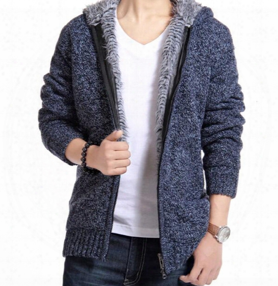 Wholesale-new Free Shipping Hot Selling New Winter Sweaters Men Solid Color Casual Hooded Cardian Sweater Thick Warm Coat
