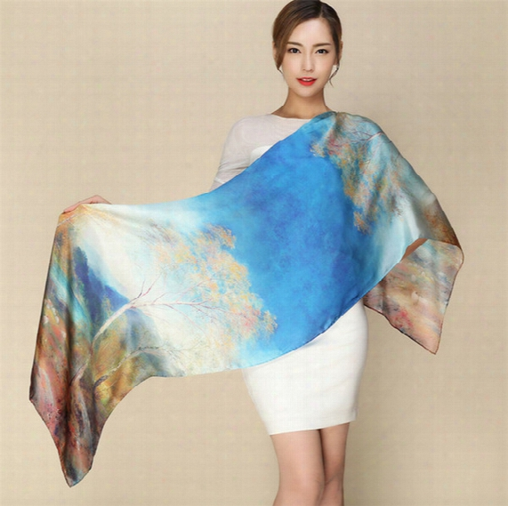 Wholesale- [ode To Joy]100% Pure Silk Women Scarf Digital Printed Scarves Lady's Long Foulard Femme Bandanas Shawl Hand Rolling