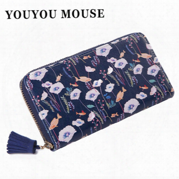 Wholesale- Youyou Mouse Women Flowers Wallet Sweet Fresh 4 Color Purse Women's Tassels Zipper Money Bag Lady Clutch Cion Pocket Card Holder