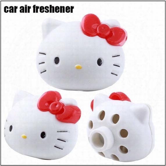 10 Pieces/lot Car Air Freshener Hello Kitty Air Freshener Perfume Diffuser For Auto Car Perfume Holder Pplastic Air Freshener