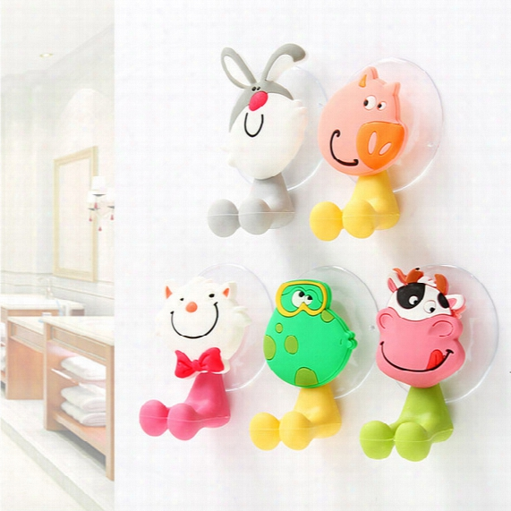 2017 Children Toothbrush Rack Toothbrush Holder Cartoon Strong Suction Cup Bathroom Racks Sucker Wall Cute Shelf For Creeative Hook