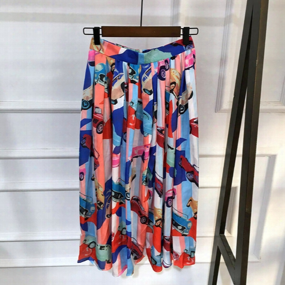 2017 Women's Fashion New Cute Cars Print Maxi Skirt Chiffon Summer Beach Skirt Short Dresses