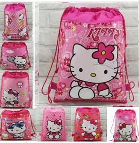30pc Children's Cartoon Bag Hello Kitty Non-woven Drawstring Backpack Party School Bag Shopping Bags Gift For Kid 10 Design Kb8