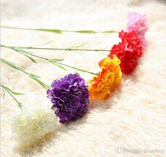 5 Colors Single Carnation Decoration Flower Artificial Silk Flowers For Mother's Day Home Wedding Party Decoration 1-492