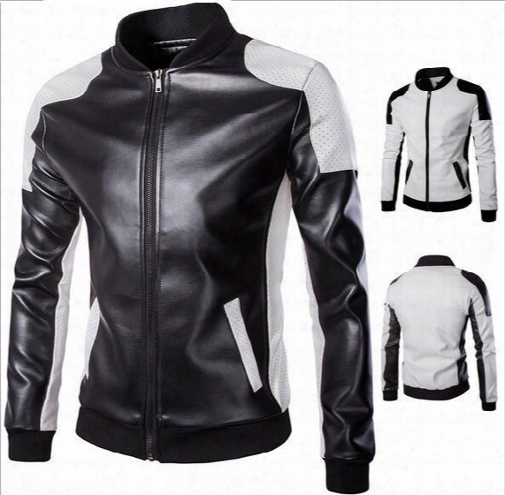 5xl Plus Size Mens Leather Motorcycle Jackets Autumn Pu Personalize Stand Collar Overcoat For Men Patchwork Cardigan Jacket Mens J160801