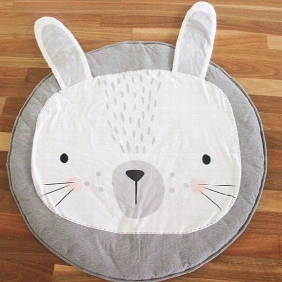 Baby Cotton Playmat Kids Toy Cartoon Lion Rabbit Animals Non-slip Bottom Portable Carry Playing Mats Room Decor Floor Mat 95cm