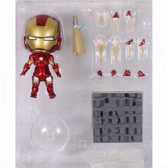 "Cute Nendoroid 4"" Iron Man Mark7 Tony Stark Set Pvc Action Figure Collection Model Toy 10cm"