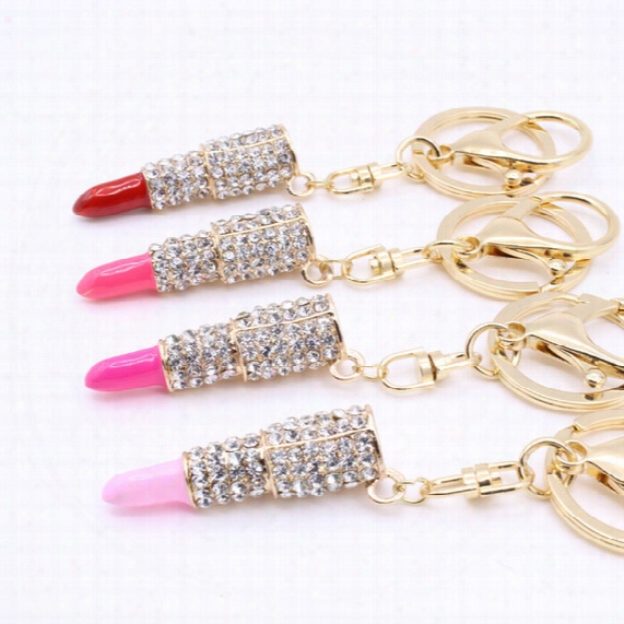 Europe And The United States Fashion Jewelry Metal Diamond Lipstick Lipstick Key Chain Bag Car Accessories Key Ring S121