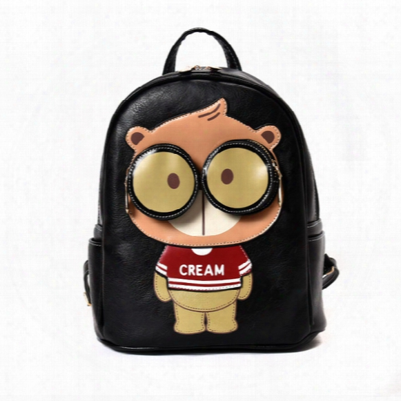 Fashion Cream Bear Teddy Bear Kids Backpacks School Bags Boys Girls Pu Leather Backpack Cartoon Bookbags