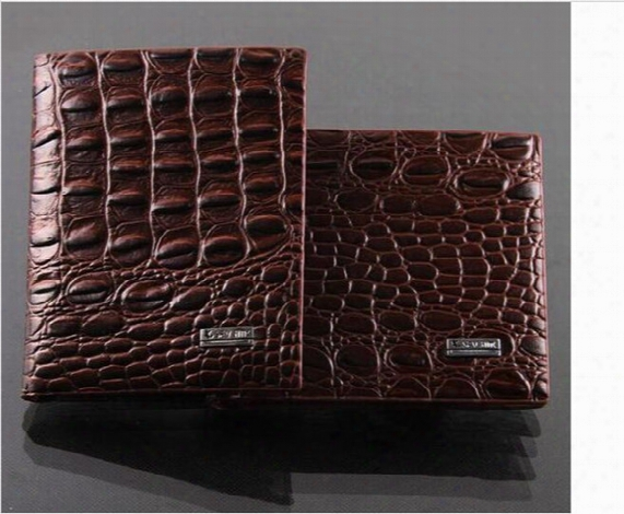 Fashion Mens Leather Luxury Wallet Crocodile Grain Casual Short Design Card Holder Money Purse Clips Wallets For Men High Quality